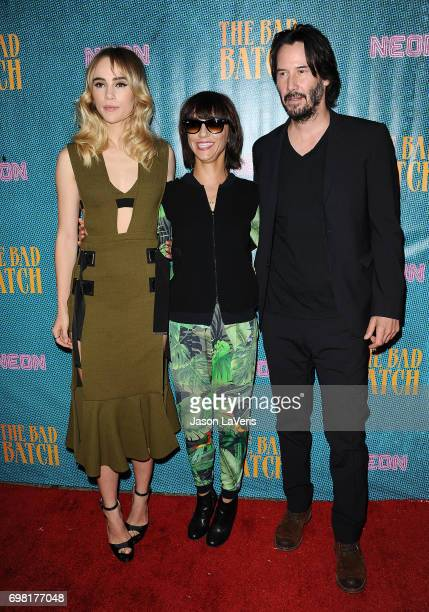Actress Suki Waterhouse director Ana Lily Amirpour and actor Keanu Reeves attend the premiere of 'The Bad Batch' at Resident on June 19 2017 in Los...