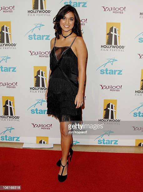 Actress Summer Bishil arrives at the Hollywood Film Festival's Hollywood Awards at the Beverly Hilton Hotel on October 22 2007 in Beverly Hills...