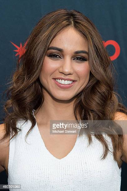 Actress Summer Bishil poses in the press room for the 'Magicians' during New York ComicCon Day 3 at The Jacob K Javits Convention Center on October...