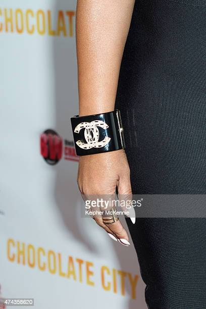 Actress Sundy Carter jewelry detail attends 'Chocolate City' movie premiere at Crest Theatre on May 21 2015 in Westwood California