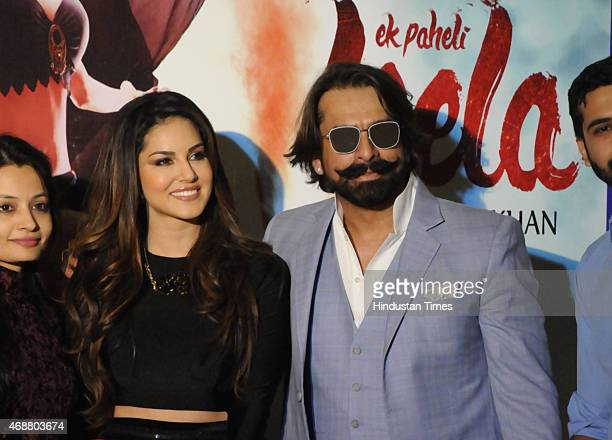Actress Sunny Leone and actor Jas Arora during the promotion of their upcoming film Ek Paheli Leela on April 7 2015 in Gurgaon India Photo by Parveen...