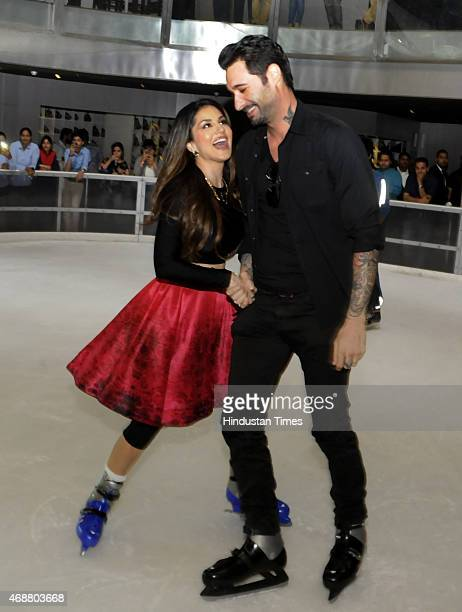 Actress Sunny Leone and her husband Daniel Weber during the promotion of her next film Ek Paheli Leela on April 7 2015 in Gurgaon India