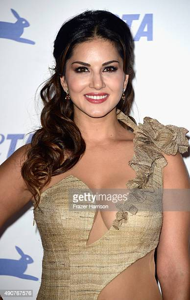 Actress Sunny Leone arrives at PETA's 35th Anniversary Party at Hollywood Palladium on September 30 2015 in Los Angeles California