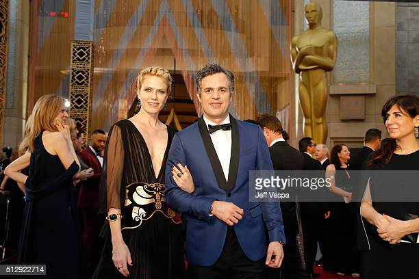 Actress Sunrise Coigney and actor Mark Ruffalo attend the 88th Annual Academy Awards at Hollywood Highland Center on February 28 2016 in Hollywood...