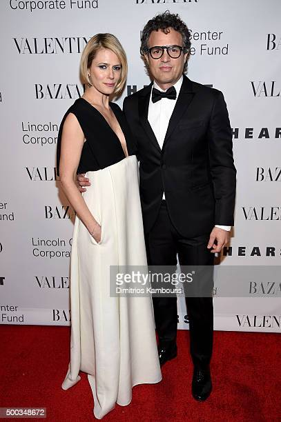 Actress Sunrise Coigney and Mark Ruffalo attend an evening honoring Valentino at Lincoln Center Corporate Fund Black Tie Gala on December 7 2015 in...