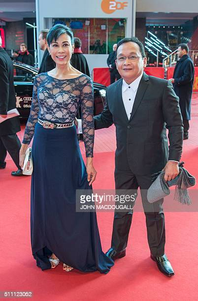 Actress Susan Africa and actor Joel Saracho arrive for the premiere of the 8hourlong Filipino film 'A Lullaby to the Sorrowful Mystery' during the...