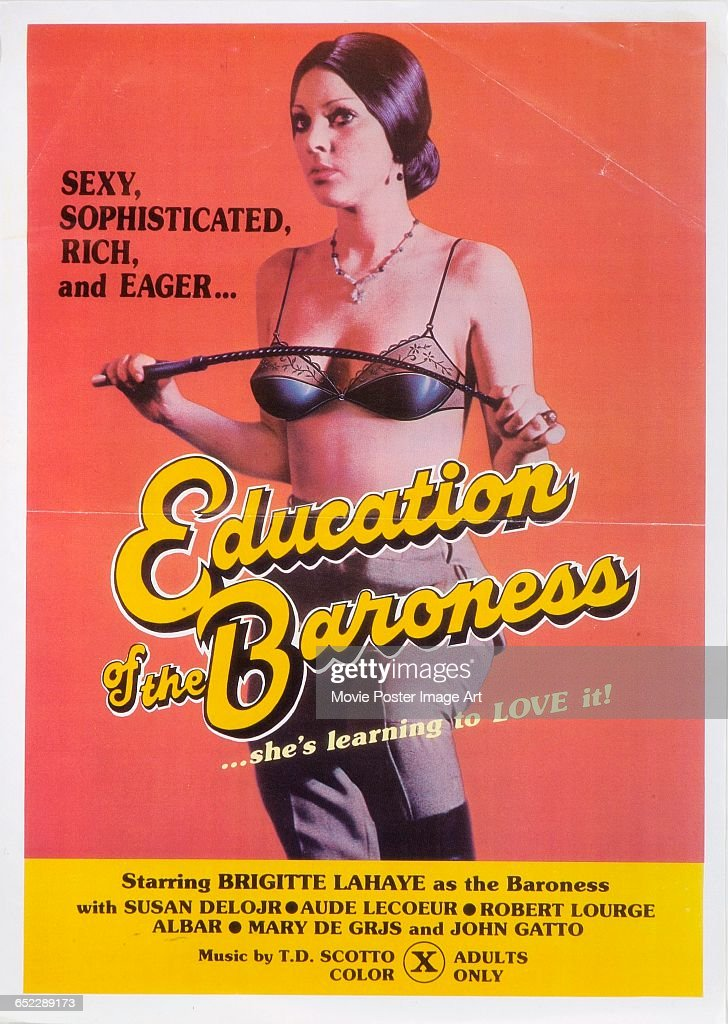 Image contains suggestive contentActress Susan Deloir appears on a poster for the French pornographic film 'Education of the Baroness' with the...