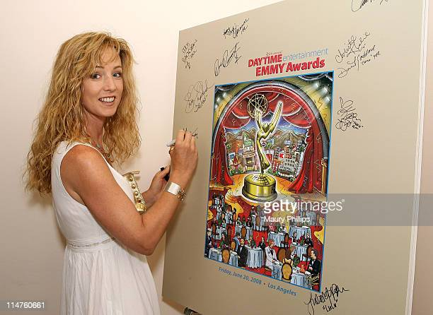 Actress Susan Haskell poses in the Daytime Emmy official gift lounge produced by On 3 Productions held at the Kodak Theatre on June 19 2008 in...