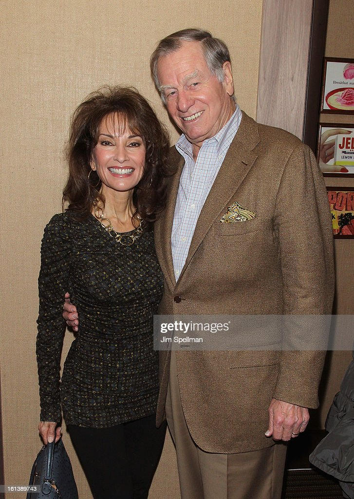Actress <a gi-track='captionPersonalityLinkClicked' href=/galleries/search?phrase=Susan+Lucci&family=editorial&specificpeople=203010 ng-click='$event.stopPropagation()'>Susan Lucci</a> and husband <a gi-track='captionPersonalityLinkClicked' href=/galleries/search?phrase=Helmut+Huber&family=editorial&specificpeople=556198 ng-click='$event.stopPropagation()'>Helmut Huber</a> attend the 'Spontaneous Construction' premiere at Guy?s American Kitchen & Bar on February 10, 2013 in New York City.