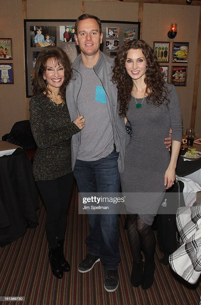 Actress <a gi-track='captionPersonalityLinkClicked' href=/galleries/search?phrase=Susan+Lucci&family=editorial&specificpeople=203010 ng-click='$event.stopPropagation()'>Susan Lucci</a> with son Andreas Huber and actress <a gi-track='captionPersonalityLinkClicked' href=/galleries/search?phrase=Alicia+Minshew&family=editorial&specificpeople=653963 ng-click='$event.stopPropagation()'>Alicia Minshew</a> attend the 'Spontaneous Construction' premiere at Guy?s American Kitchen & Bar on February 10, 2013 in New York City.