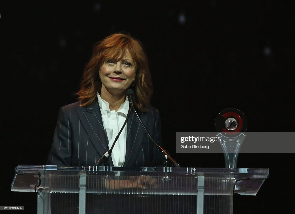 Actress Susan Sarandon accepts the Cinema Icon Award during the CinemaCon Big Screen Achievement Awards at The Colosseum at Caesars Palace during...