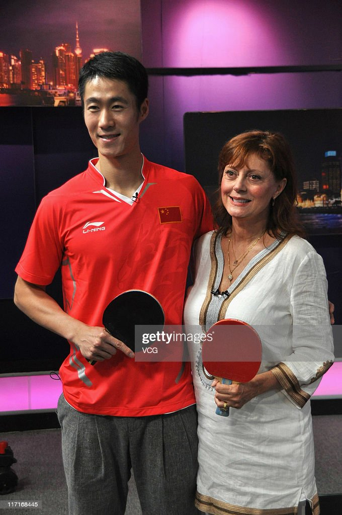 Actress Susan Sarandon and Chinese table tennis player Wang Liqin attend program 'Culture Matters' at the International Channel Shanghai (ICS) on June 23, 2011 in Shanghai, China.