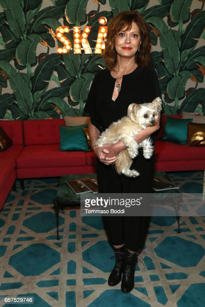 Actress Susan Sarandon and her dog Penny attend the Herring Herring Sequence Magazine Launch Party Cohosted by Susan Sarandon at the private...