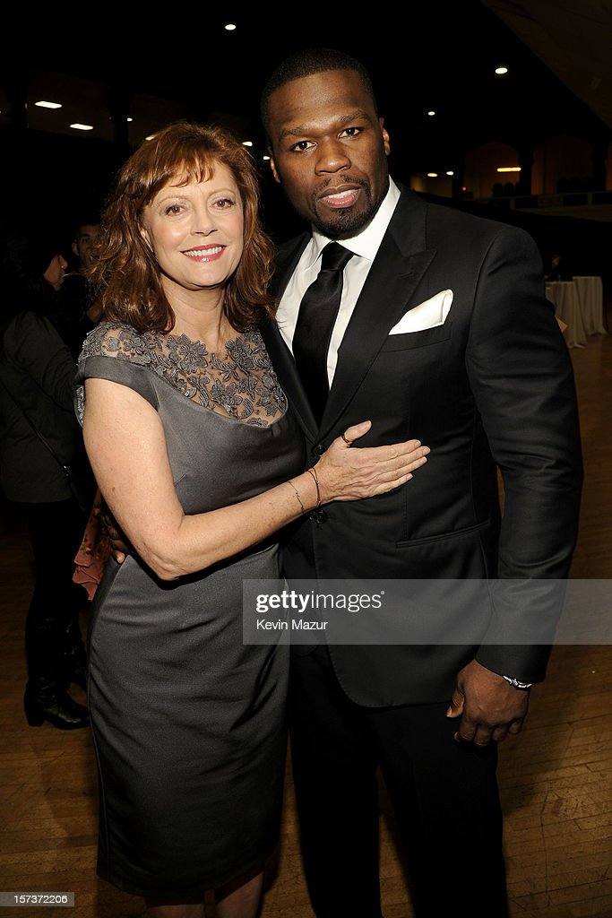 Actress Susan Sarandon (L) and rapper <a gi-track='captionPersonalityLinkClicked' href=/galleries/search?phrase=50+Cent+-+Rappeur&family=editorial&specificpeople=215363 ng-click='$event.stopPropagation()'>50 Cent</a> (Curtis James Jackson III) attend the CNN Heroes: An All Star Tribute at The Shrine Auditorium on December 2, 2012 in Los Angeles, California. 23046_005_KM_0235.JPG