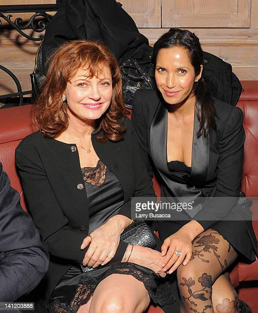 Actress Susan Sarandon and TV personality Padma Lakshmi attend the party following a screening of 'Jeff Who Lives at Home' hosted by The Hollywood...