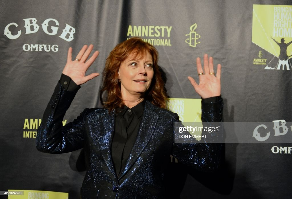 Actress Susan Sarandon arrives at Amnesty Internationals 'Bringing Human Rights Home' concert February 5, 2014 at the Barclays Center in the Brooklyn borough of New York. AFP PHOTO/Don EMMERT
