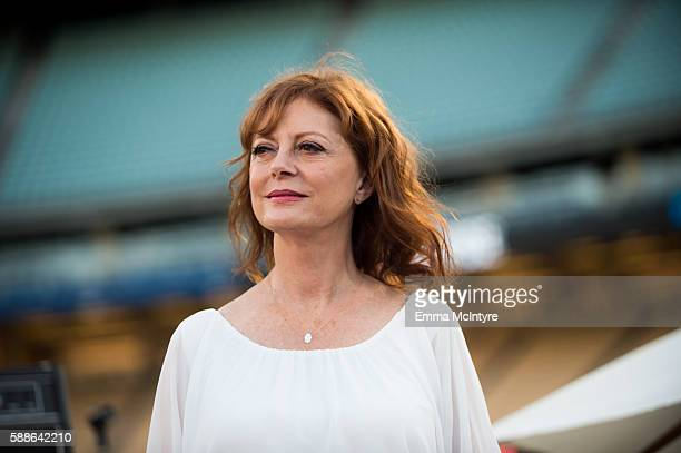 Actress Susan Sarandon attends Clayton Kershaw's 4th annual 'Ping Pong 4 Purpose Celebrity Tournament' at Dodger Stadium on August 11 2016 in Los...