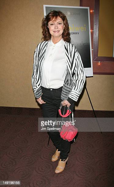 Actress Susan Sarandon attends the 'Ai Weiwei Never Sorry' premiere at Chelsea Clearview Cinemas on July 24 2012 in New York City