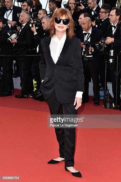 Actress Susan Sarandon attends the 'Cafe Society' premiere and the Opening Night Gala during the 69th annual Cannes Film Festival at the Palais des...