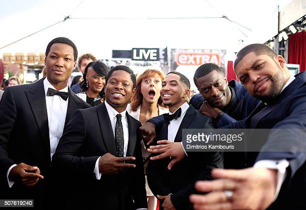 Actress Susan Sarandon photobombs Actors Corey Hawkins Jason Mitchell Neil Brown Jr Aldis Hodge and O'Shea Jackson Jr attend The 22nd Annual Screen...
