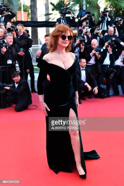 US actress Susan Sarandon poses as she arrives on May 17 2017 for the screening of the film 'Ismael's Ghosts' during the opening ceremony of the 70th...
