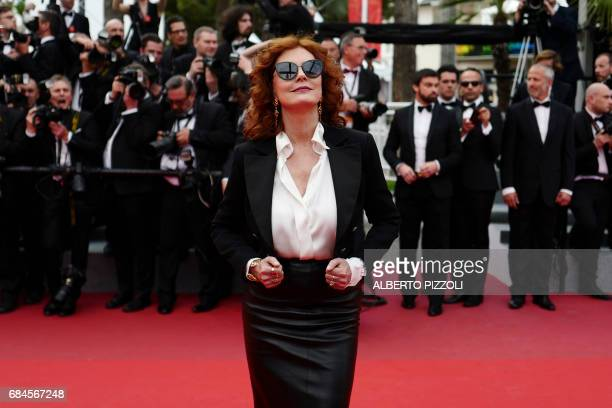 TOPSHOT US actress Susan Sarandon poses as she arrives on May 18 2017 for the screening of the film 'Loveless' at the 70th edition of the Cannes Film...