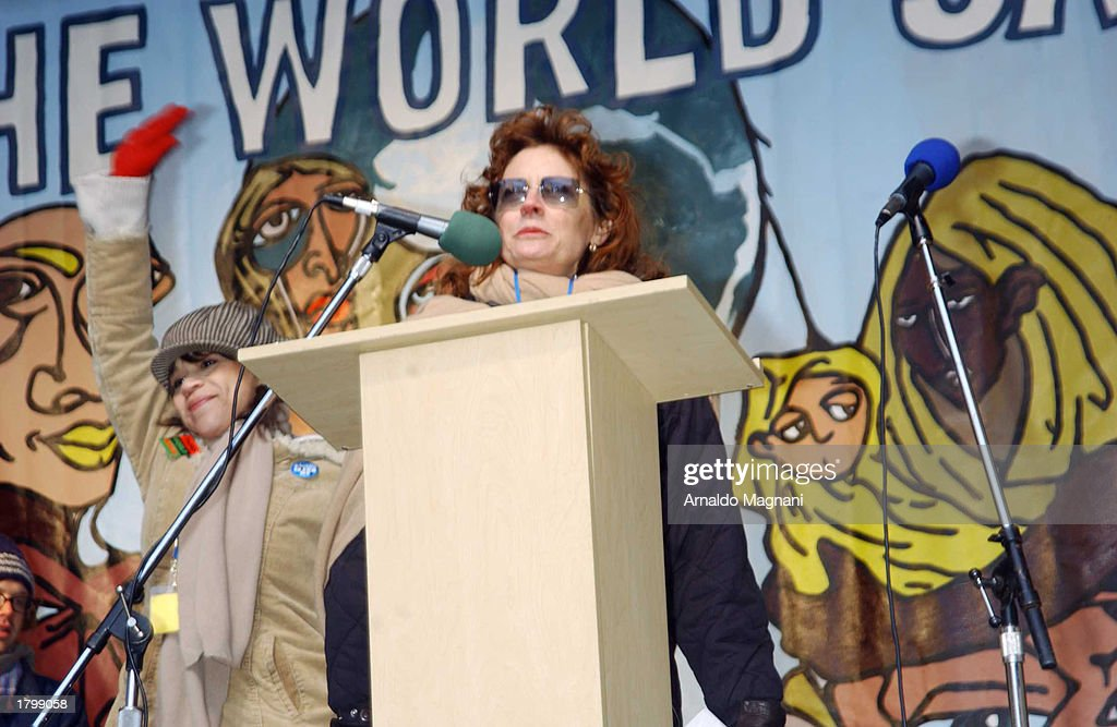 Actress Susan Sarandon shows her support at 'The World Says No To War' rally February 15, 2003 in New York City. Celebrities joined demonstrators in an anti-war protest against a possible U.S.-led war with Iraq in front of the United Nations on First Avenue.