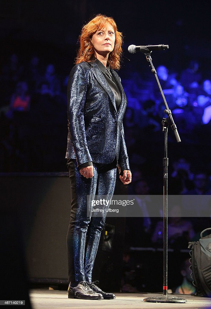 Actress Susan Sarandon speaks during the Amnesty International 'Bringing Human Rights Home' Concert at the Barclays Center on February 5, 2014 in the Brooklyn borough of New York City.