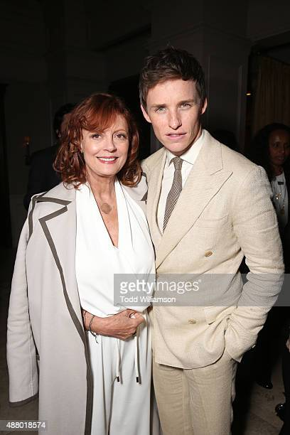 Actress Susan Sarandon wearing Max Mara and actor Eddie Redmayne attend Hollywood Foreign Press Association InStyle's annual celebration of The...