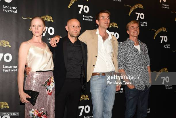 Actress Susanne Wuest Jurgen Vogel Felix Randa Andre Hennicke and pose during the 'Iceman' premiere at the 70th Locarno Film Festival on August 8...
