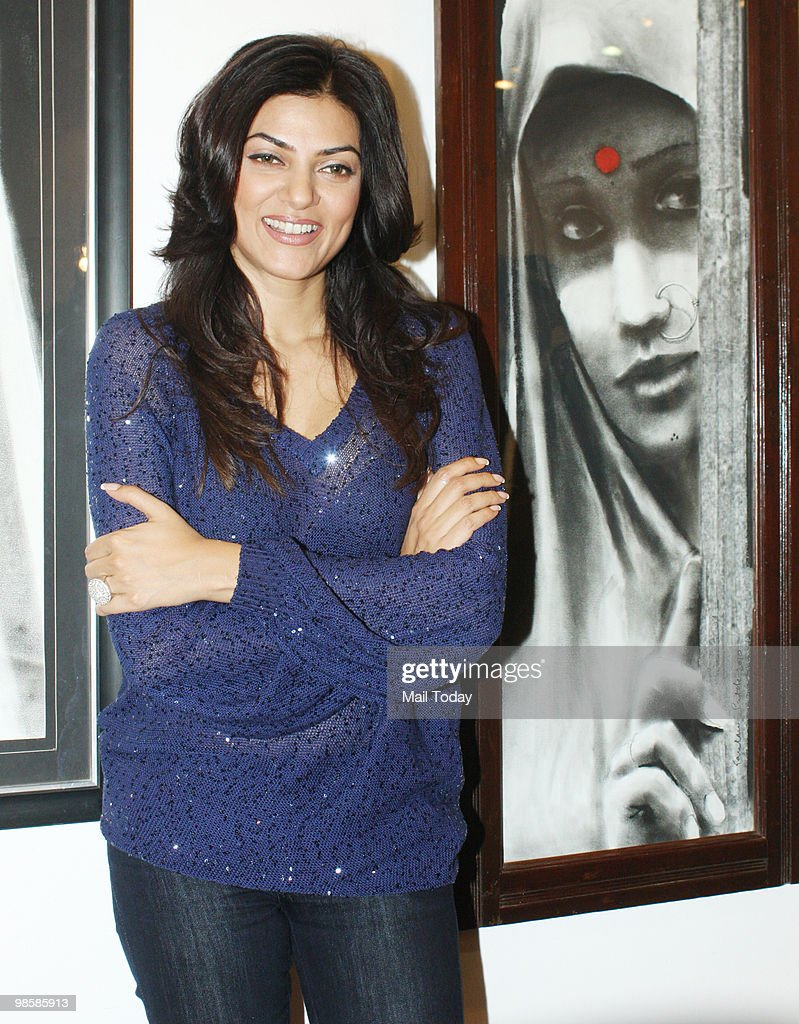 Actress Sushmita Sen at the launch of an exhibition by Gautam Patole in Mumbai on April 20 2010