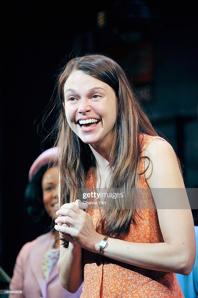 Actress <a gi-track='captionPersonalityLinkClicked' href=/galleries/search?phrase=Sutton+Foster&family=editorial&specificpeople=220522 ng-click='$event.stopPropagation()'>Sutton Foster</a> attends the 'Violet' Opening Night curtain call at American Airlines Theatre on April 20, 2014 in New York City.