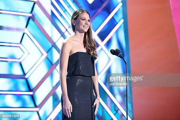 Actress Sutton Foster speaks onstage during the 2016 TV Land Icon Awards at The Barker Hanger on April 10 2016 in Santa Monica California