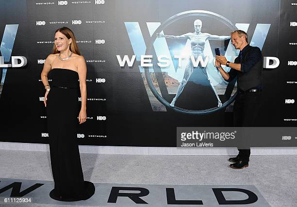 Actress Suzanne Cryer and actor Patrick Fabian attend the premiere of 'Westworld' at TCL Chinese Theatre on September 28 2016 in Hollywood California