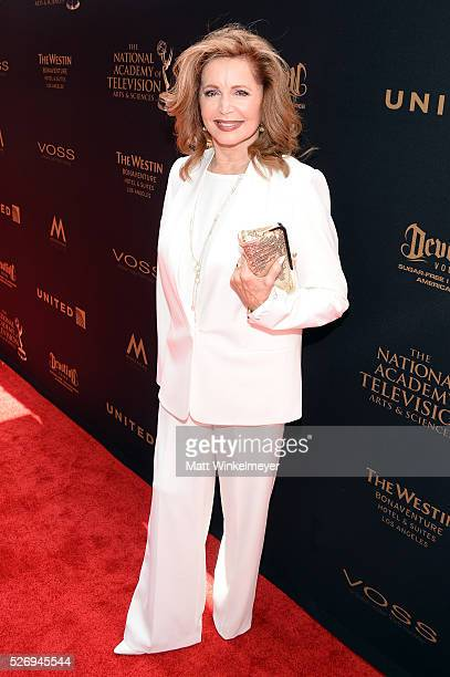 Actress Suzanne Rogers walks the red carpet at the 43rd Annual Daytime Emmy Awards at the Westin Bonaventure Hotel on May 1 2016 in Los Angeles...