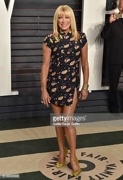 Actress Suzanne Somers arrives at the 2016 Vanity Fair Oscar Party Hosted By Graydon Carter at Wallis Annenberg Center for the Performing Arts on...