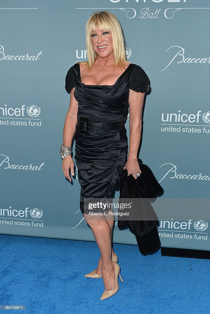 Actress Suzanne Somers arrives to the 2014 UNICEF Ball Presented by Baccarat at the Regent Beverly Wilshire Hotel on January 14, 2014 in Beverly Hills, California.