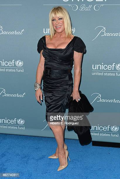 Actress Suzanne Somers arrives to the 2014 UNICEF Ball Presented by Baccarat at the Regent Beverly Wilshire Hotel on January 14 2014 in Beverly Hills...