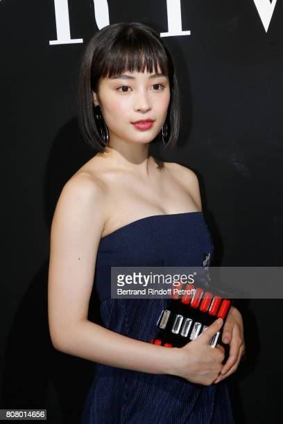 Actress Suzu Hirose attends the Giorgio Armani Prive Haute Couture Fall/Winter 20172018 show as part of Haute Couture Paris Fashion Week on July 4...