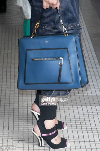 Actress Sveva Alviti handbag and shoe detail is spotted during the 70th annual Cannes Film Festival at on May 18 2017 in Cannes France
