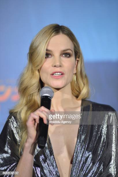 Actress Sylvia Hoeks makes a speech ahead of the Premiere of the movie Blade Runner 2049 in Tokyo Japan on October 24 2017