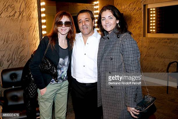 Actress Sylvie Testud Chico and actress Cristiana Reali pose backstage after the Concert of 'Chico The Gypsies' with 50 gypsy guitars at L'Olympia on...