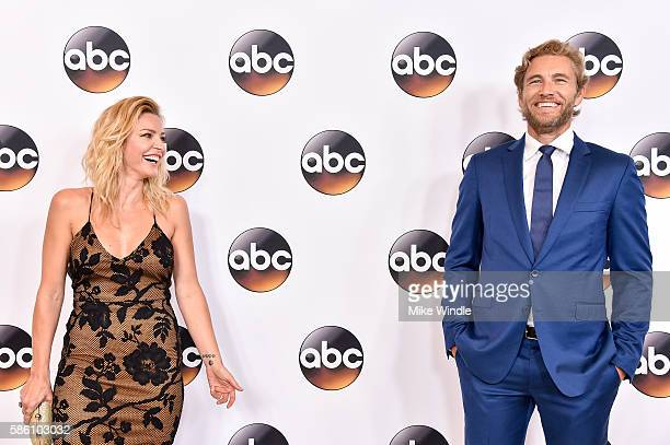 Actress Tabrett Bethell and actor Brett Tucker attend the Disney ABC Television Group TCA Summer Press Tour on August 4 2016 in Beverly Hills...