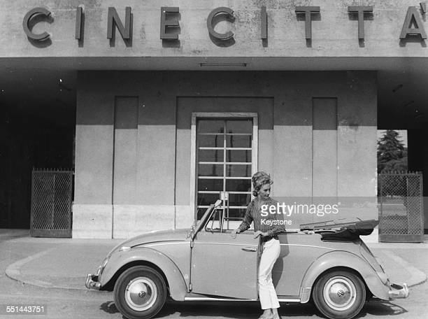 Actress Taina Elg getting into her car outside the Cinecitta Studios where she is filming 'The Bacchantes' in Rome September 15th 1960