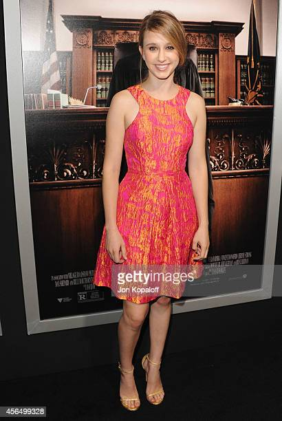 Actress Taissa Farmiga arrives at the Los Angeles Premiere 'The Judge' at AMPAS Samuel Goldwyn Theater on October 1 2014 in Beverly Hills California