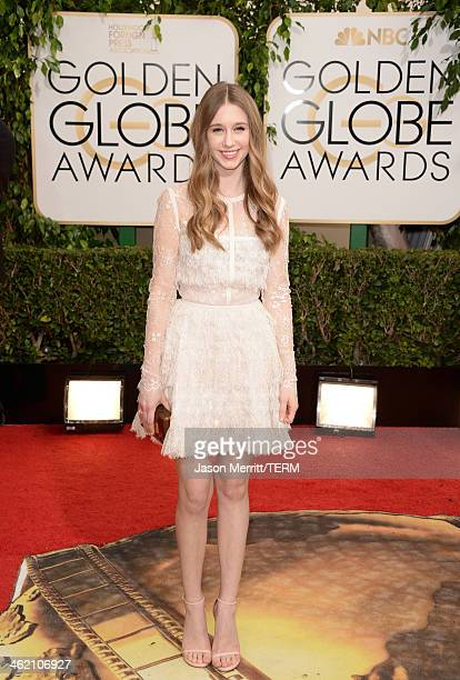 Actress Taissa Farmiga attends the 71st Annual Golden Globe Awards held at The Beverly Hilton Hotel on January 12 2014 in Beverly Hills California