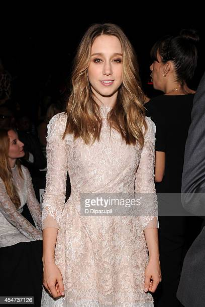 Actress Taissa Farmiga attends the Monique Lhuillier fashion show during MercedesBenz Fashion Week Spring 2015 at The Theatre at Lincoln Center on...
