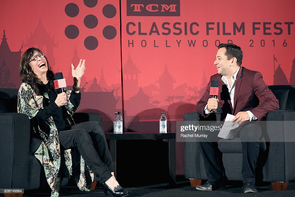 Actress Talia Shire (L) and columnist Scott Feinberg speak onstage at the 'Rocky' screening during day 3 of the TCM Classic Film Festival 2016 on April 30, 2016 in Los Angeles, California. 25826_007