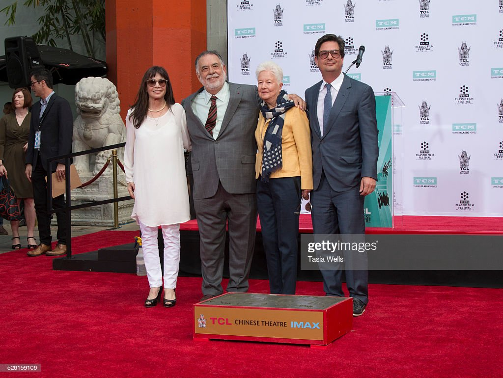 Actress <a gi-track='captionPersonalityLinkClicked' href=/galleries/search?phrase=Talia+Shire&family=editorial&specificpeople=769157 ng-click='$event.stopPropagation()'>Talia Shire</a>, director <a gi-track='captionPersonalityLinkClicked' href=/galleries/search?phrase=Francis+Ford+Coppola&family=editorial&specificpeople=204241 ng-click='$event.stopPropagation()'>Francis Ford Coppola</a>, Eleanor Coppola and director <a gi-track='captionPersonalityLinkClicked' href=/galleries/search?phrase=Roman+Coppola&family=editorial&specificpeople=615097 ng-click='$event.stopPropagation()'>Roman Coppola</a> attend TCM Honors Academy Award winning filmmaker <a gi-track='captionPersonalityLinkClicked' href=/galleries/search?phrase=Francis+Ford+Coppola&family=editorial&specificpeople=204241 ng-click='$event.stopPropagation()'>Francis Ford Coppola</a> with a Hand and Footprint Ceremony at TCL Chinese Theatre IMAX on April 29, 2016 in Hollywood, California.
