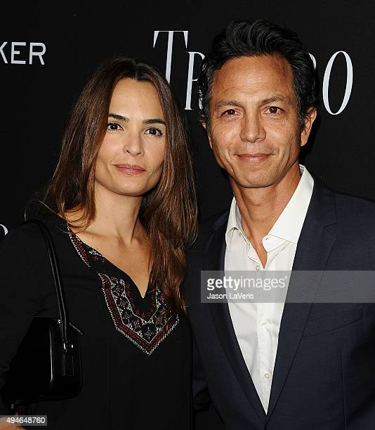 Actress Talisa Soto and actor Benjamin Bratt attend the premiere of 'Trumbo' at Samuel Goldwyn Theater on October 27 2015 in Beverly Hills California